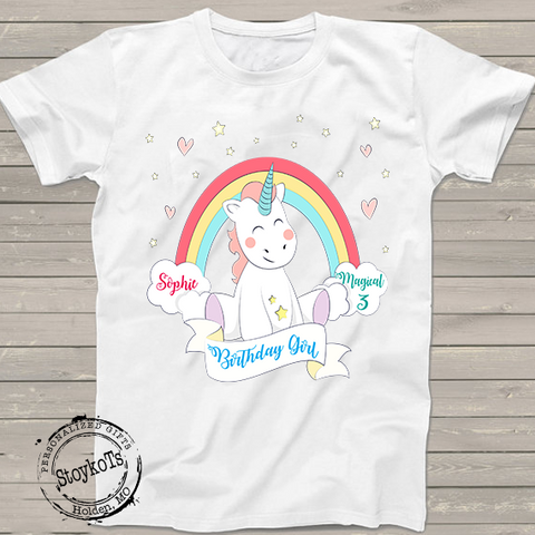 Unicorn Birthday Shirt For Kids Personalized StoykoTs