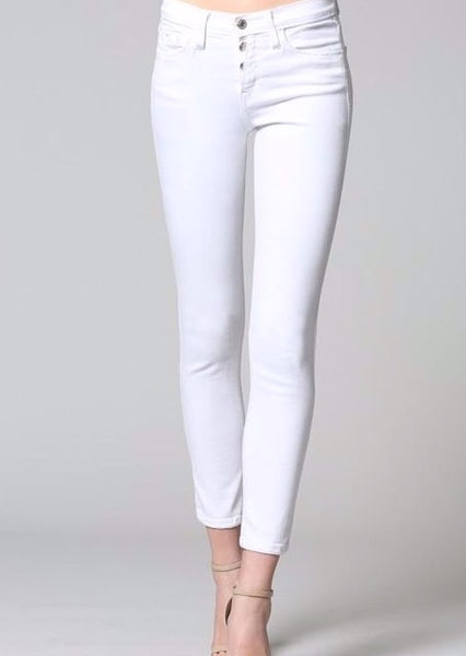 Peek a boo button up white skinny jeans