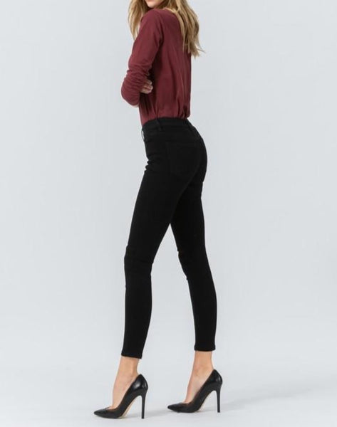 Super soft black crop skinny
