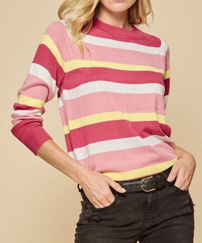 Stripe lightweight sweater pink