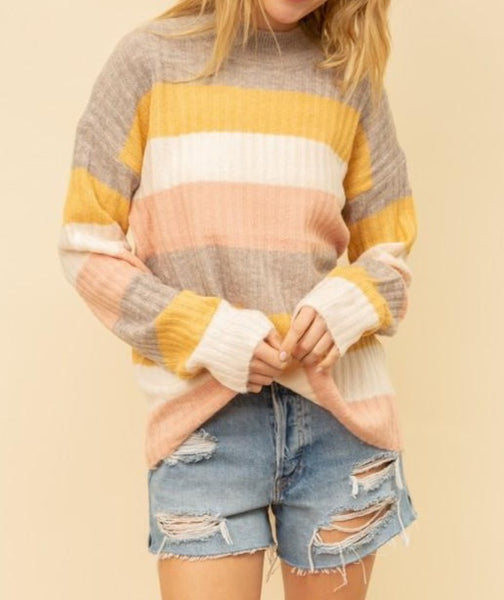 Stripe pullover sweater top