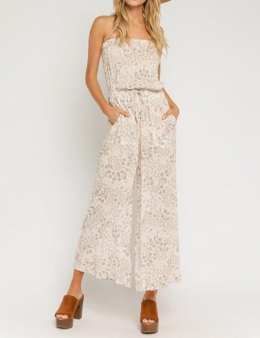 Natural floral strapless jumpsuit