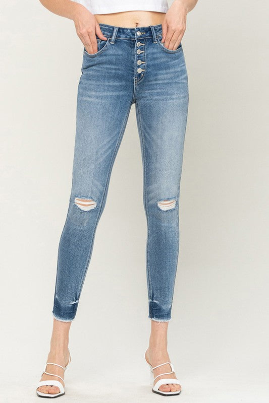 High rise button up raw hem crop skinny