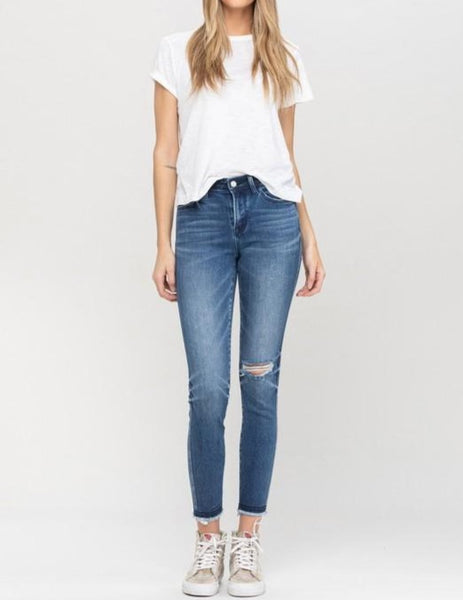 Mid rise detailed waistband crop skinny
