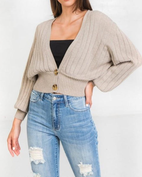 Ribbed sweater cardigan