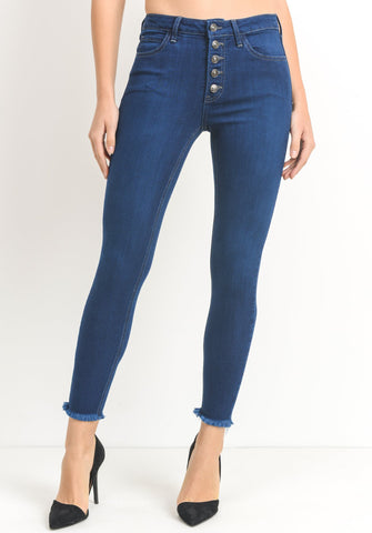 Button skinny cropped high rise jeans