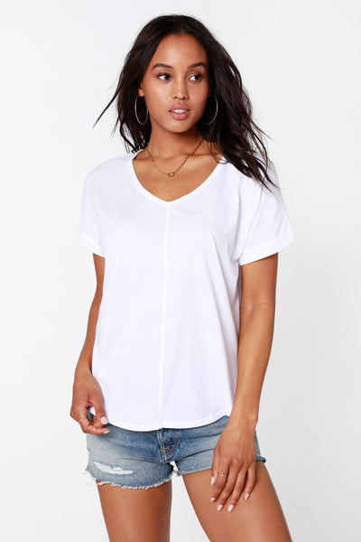Bobi v-neck white tee
