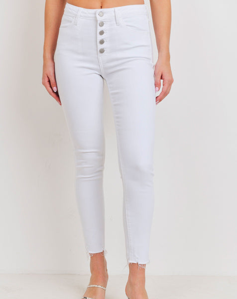 White high waist raw hem jeans
