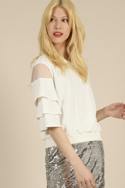 Ruffled sleeve knitted top