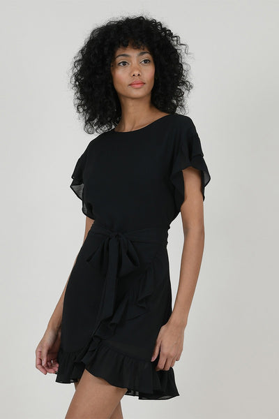 Lined veil mini dress