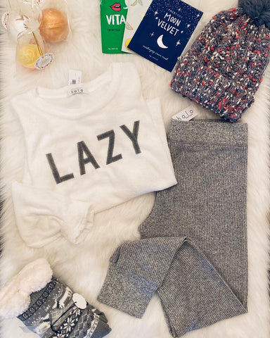 Lazy soft long sleeve knit graphic top