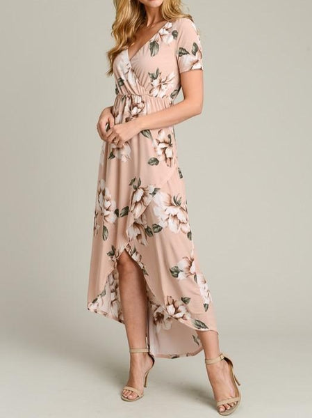 High-low faux wrap maxi