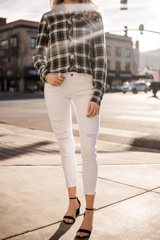 Cropped skinny jeans-white