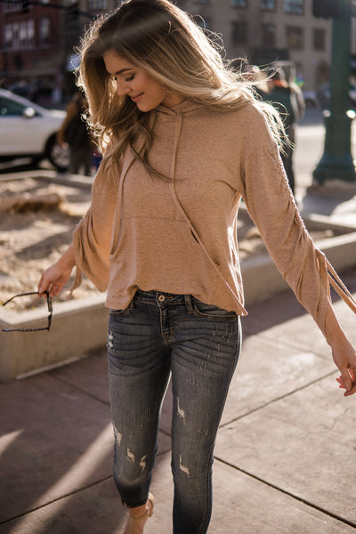Ruched sleeve hoodie pullover top