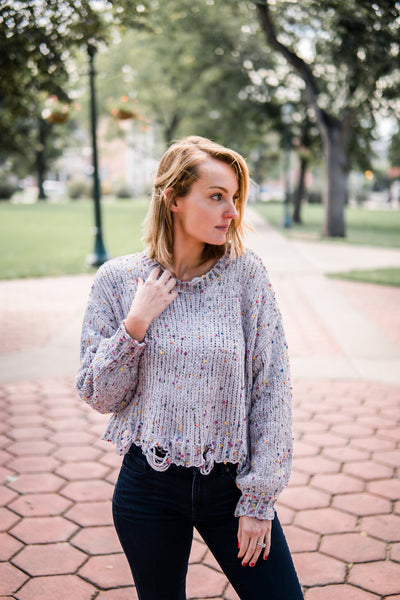 Speckled pull over sweater