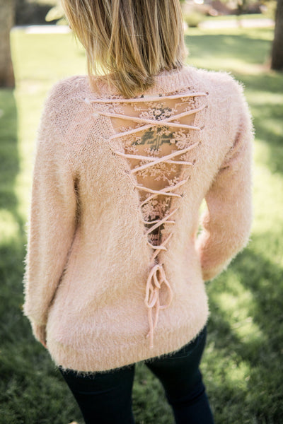 Furry lace back sweater