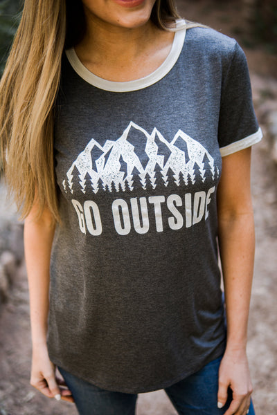 """Go outside"" graphic tee"