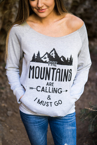 """The mountains are calling and I must go"" graphic top (Large only)"
