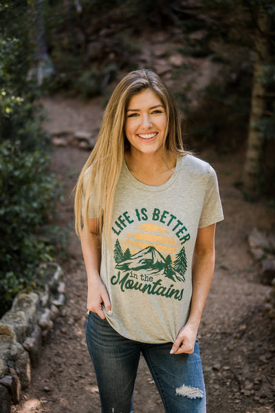 """Life is better in the mountains"" graphic tee"