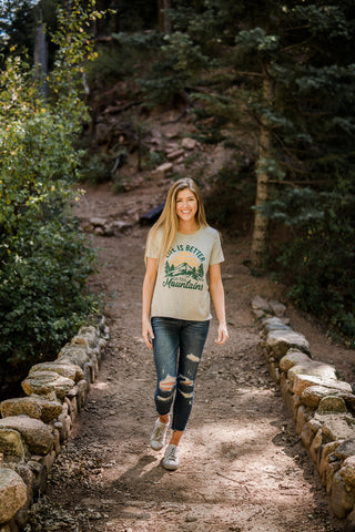 """Life is better in the mountains"" graphic tee-(one large left)"