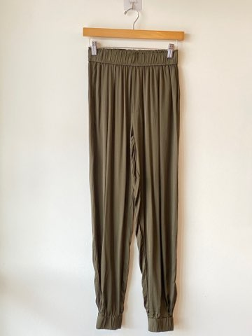 Satin pleated joggers