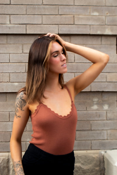 Scalloped knit camisole