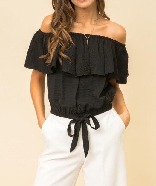 Off the shoulder crop ruffle top