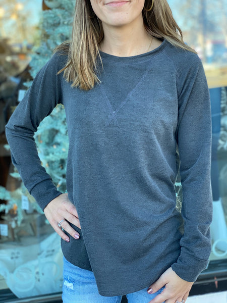 Top stitch long sleeve top