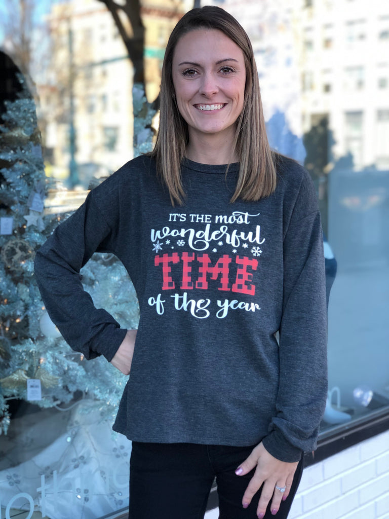 """It's the most wonderful time of the year"" graphic pullover top"