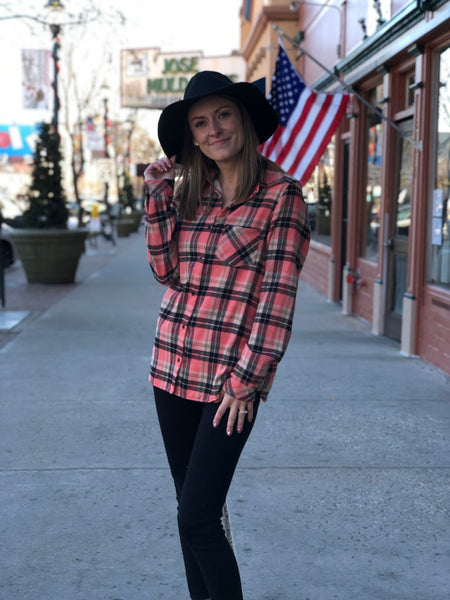 Sherpa lined flannel plaid top