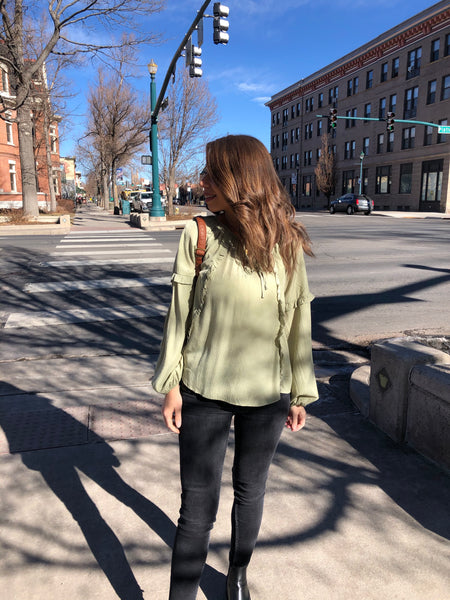 Ruffle detail top light olive