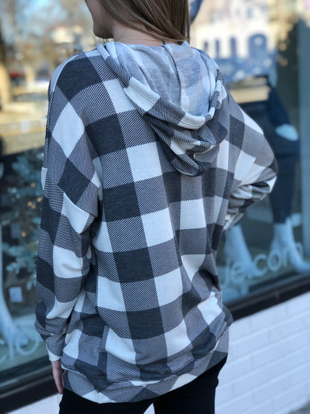 Plaid soft hoodie pullover top