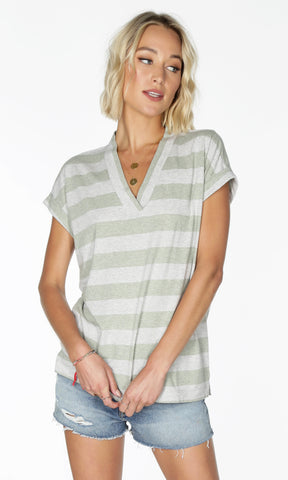 Bobi v-neck stripe top