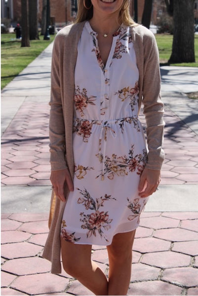 Sleeveless floral tie dress