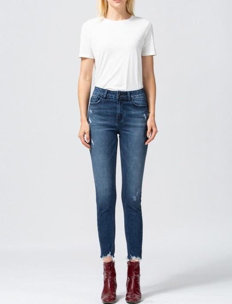 Uneven raw hem crop skinny