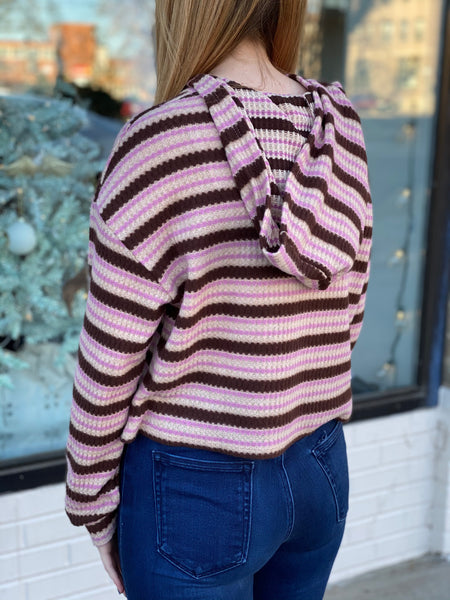 Striped brushed sweater hoodie