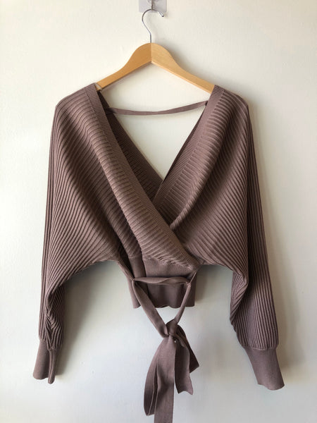 Wrap style sweater with sash tie