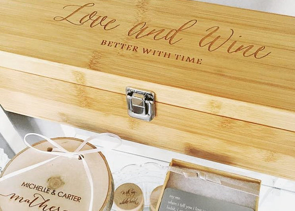 Custom engraved wine box by EngraveMeThis