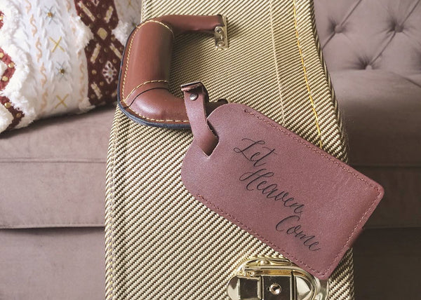 Custom leather luggage tag by EngraveMeThis