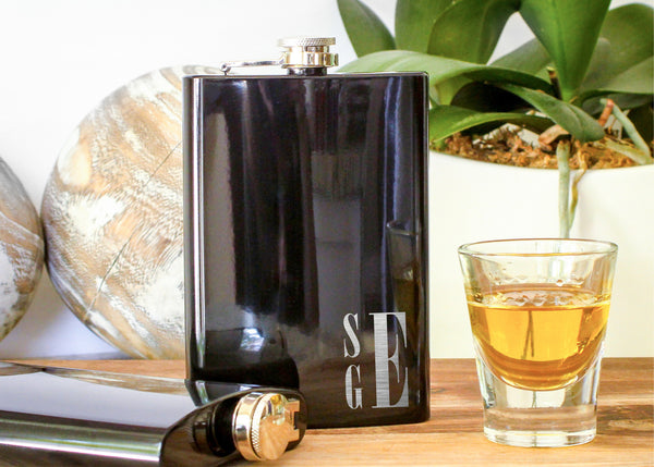 Monogrammed Black Hip Flask-personalized stainless steel hip flask-EngraveMeThis