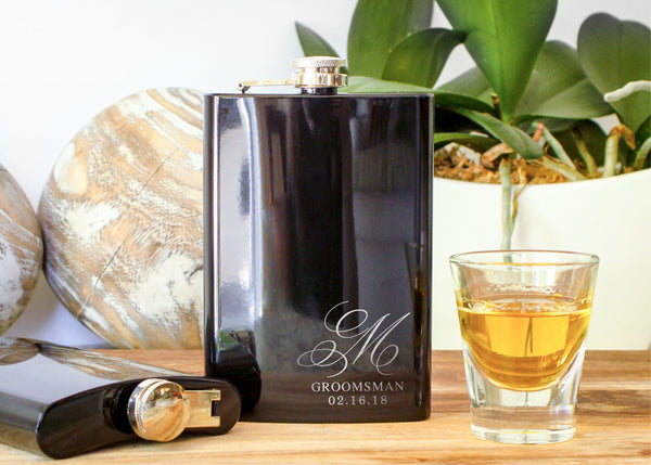 Black High Gloss Hip Flask-personalized stainless steel hip flask-EngraveMeThis