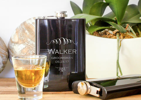 Whiskey Hip Flask in Black-personalized stainless steel hip flask-EngraveMeThis