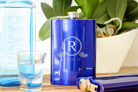 Hip Flask in Metallic Blue-personalized stainless steel hip flask-EngraveMeThis