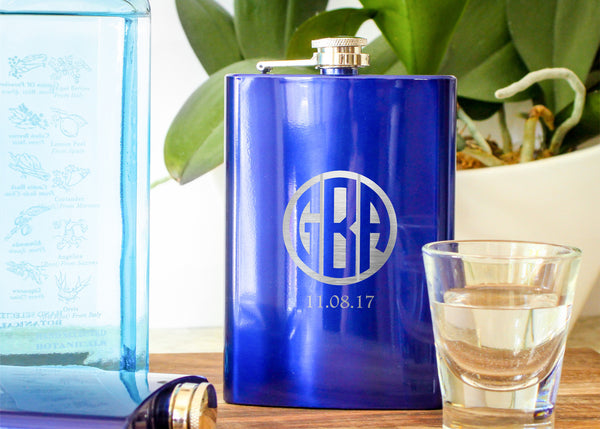 Blue Metallic Hip Flask-personalized stainless steel hip flask-EngraveMeThis