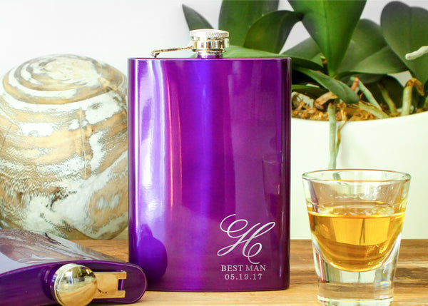 Purple Metallic Whiskey Flask-personalized stainless steel hip flask-EngraveMeThis
