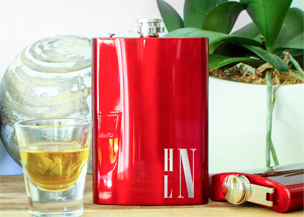 Red Metallic Hip Flask-personalized stainless steel hip flask-EngraveMeThis