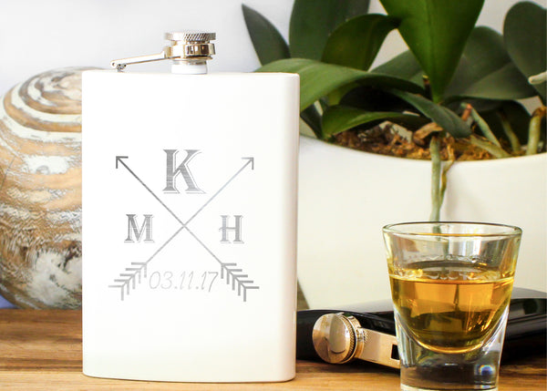 White High Gloss Hip Flask-personalized stainless steel hip flask-EngraveMeThis