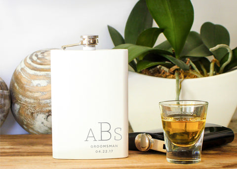 High Gloss Hip Flask in White-personalized stainless steel hip flask-EngraveMeThis