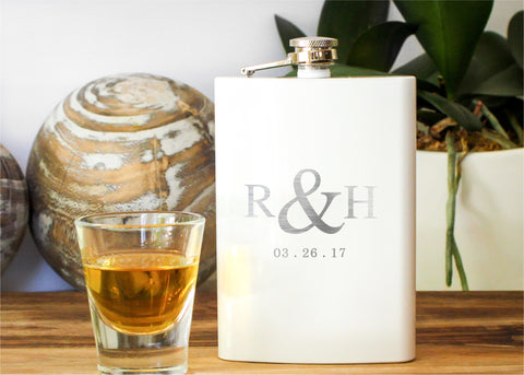 Bridesmaid Flask in Gloss White-personalized stainless steel hip flask-EngraveMeThis