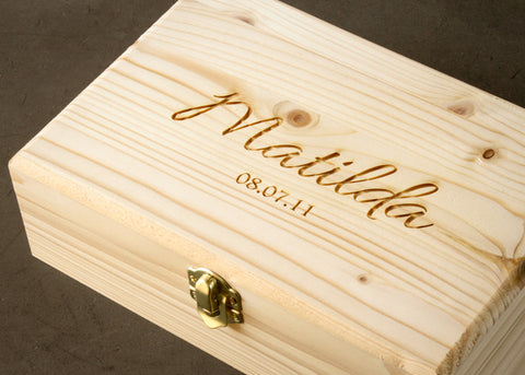 Hinged Keepsake Box-personalized wood box-EngraveMeThis